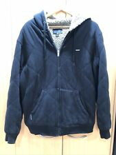 Rip Curl Zip Hoodie Jacket Quilted Black Cotton Slub Fleece Lined Mens L PERFECT