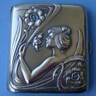 SUPERB Antique Art Nouveau Sterling SILVER Woman Smelling Flowers Cigarette Case