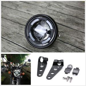 Heavy Universal Matte Black Motorcycle Headlamp Daytime Light+Headlight Brackets