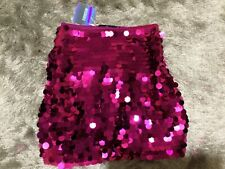 missguided pink sequin disc mini skirt size 8 BNWT