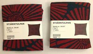 "Set of 2 - New IKEA STJARNTULPAN Cushion cover, dark Blue/Red 20 x 20 """
