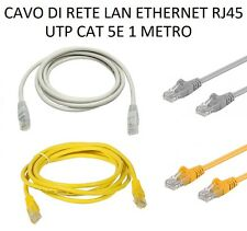 CAVO DI RETE LAN ETHERNET RJ45 UTP CAT 5E 1 METRO 1MT PATCH RJ45 PLUG