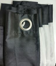 "Black Faux Silk Lined Eyelet Ring Top Curtains 90"" x 90"" Pair"
