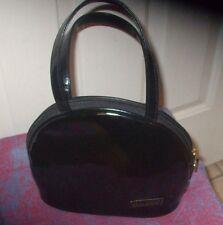 Carlos Falchi Black Patent Bowler Women's Handbag