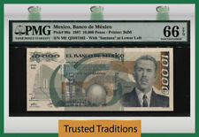 TT PK 90a 1987 MEXICO 10000 PESOS PMG 66 EPQ GEM TOP POPULATION NONE FINER!