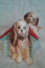Vintage Japan Porcelain Mama Dog and Puppy Dog House Bank