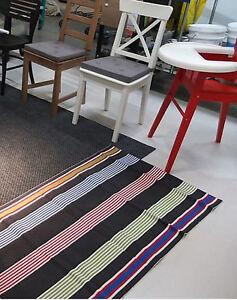IKEA Bislev RUNNER Area  RUG MAT Striped Red Gray White REVERSIBLE 3' x 7' Flat