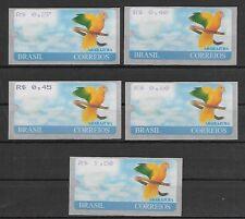 Brasilien ATM 8 Vögel, Papagei, (5 Wertstufen),postfrisch, MNH