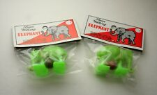 2 Vintage Plastic Elephant Ramp Space Walker Toy 1960s New MIB NOS Hong Kong