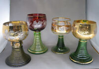 Set of 4 Vintage German Rhine Roemer Wine Goblets w/ Beehive Stem Grape Des