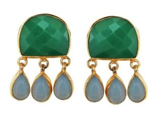 Vintage Look 18K Gold Plated Stud Earrings Faceted Green Onyx & Amazonite Gift