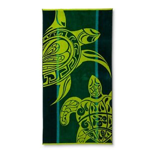 "Colormate Green Stripes & Turtles Jacquard Beach Towel, 34""x64"""