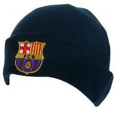 FC Barcelona Knitted Beanie Hat Cap TU Navy Blue With Turn up Peak 5dd1efda553