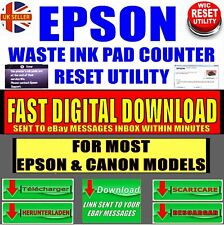 EPSON/CANON PRINTER WASTE INK PAD COUNTER ERROR EASY RESET +KEY INSTANT DOWNLOAD