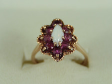 Opal & Ruby Halo Ring 9ct Gold Ladies Stunning Size M 375 3.2g Ex67