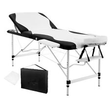 Portable Aluminium 3 Fold Massage Table Chair Bed Black White 75cm Masseuse Furn