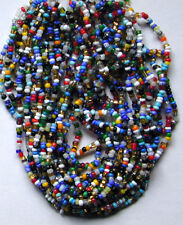 Vintage Italian Glass Multi Colors TWO LONG HANKS Tons of Asst Seed Beads Styles