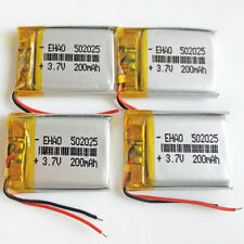 4 pcs 3.7V 200mAh li po Battery Cells For Mp3 GPS bluetooth Smart Watch 502025