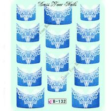 Nail Water Decal - French Tip Blue Lace Transfers Sticker Wedding - B-132 - UK