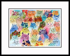 TAKE YOUR PICK - WHIMSICAL CAT ART FRAMED LTD ED PRINT CATMANDREW DREW STROUBLE