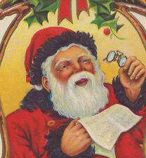 Santa Looking at Spectacles Glasses Christmas Postcard