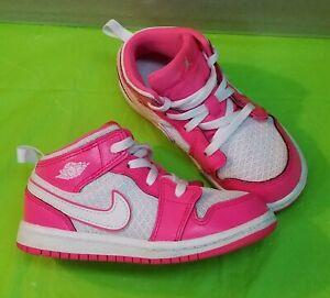 🔥👟Nike Air Jordan 1 Mid Toddler Hyper Pink White 644507-611 Toddler size9C👟🔥