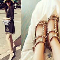 Women Fashion Strap Studded Rivet Metal Flat Pointed Toe Shoes Single Sandals