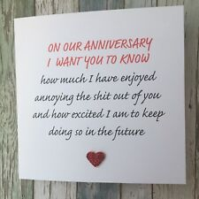 FUNNY ANNIVERSARY CARD - ADULT RUDE HUMOUR SARCASM LOVE CHEEKY OTHER HALF- ANNOY