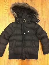 GUESS Black Puffer Jacket Girls Size M (5/6) Removeable Faux Fur Zipper Hoodie