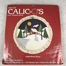 """Vintage Calico Applique Sewing Needle Kit 10"""" Framing Hoop Winter Christmas New"""