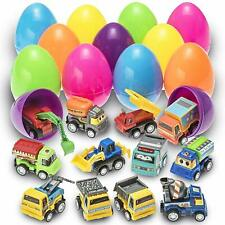 12 Toy Filled Easter Eggs Filled  Construction Vehicles Truck Plastic Easter Egg