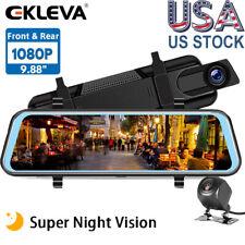 "New listing Ekleva Backup Cam 9.66"" Mirror Dash Cam Touch Screen Hd 1080P Rearview Dual Lens"