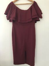 WOMENS ASOS SIZE 14 Burgundy Off The Shoulder Midi Dress