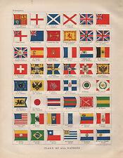 1900 Victorien Impression ~ Drapeaux de Nations France Japon Burma Suisse Maroc