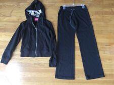 Juicy Couture Size Large Black Tracksuit Hoodie Bootcut Pants Set