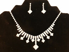 Silver Plated Rhinestone Bridal Square Set Adjustable Necklace & Earrings Set