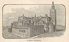 A6456 Siviglia - Cattedrale - Stampa Antica del 1930 - Incisione
