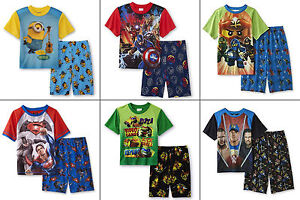 NWT Boys Minion Pajamas Size 8 Shirt Shorts Summer Set Medium M Blue Yellow NEW
