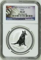 2006 NGC MS69 Australia 1 Oz Silver Lunar Year of the Dog $1 Coin Bullion