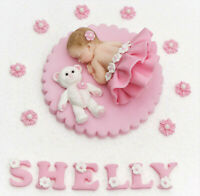 Edible baby girls Christening birthday cake topper. Edible sleeping baby girl.