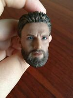 1/6 Captain America Head Chris Evans Male Carved Model Sculpt PVC F/PH Doll