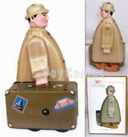 MS472 Traveller Suitcase Man Retro Clockwork Wind Up Tin Toy w/Box
