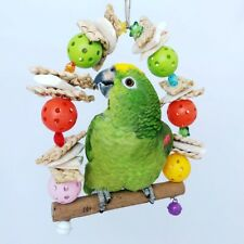 Pet Bird Cockatiel Parrot Stand Climb Chew Bite Wood Swing Colorful Hanging Toy