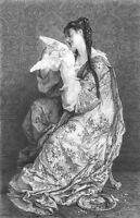 PRETTY YOUNG GIRL WOMAN FANCY DRESS & Pet DOVE BIRD ~ 1878 Art Print Engraving