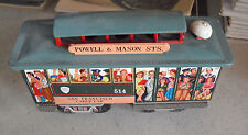 "Vintage Fred E Walt Tin Friction Powell & Mason Trolley Car 8"" Long"