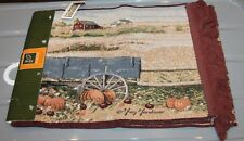 "Nos Tapestry Table Runner Fall Harvest Scarecrow horses wagon 72"" x 13"""