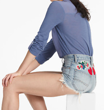 Lucky Brand Women Garden Floral Heart A-Line Vintage Embroidered Shorts $79