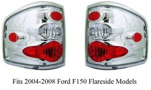 Tail Light Set F150 Clear Chrome Crystal fits 2004-2008 Ford Flareside Brand New