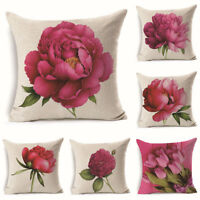 New peony Rose Print Cotton Linen Pillow Case Cushion Cover Sofa for Home Decor