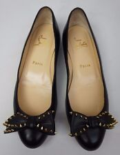 Christian Louboutin Ballalarina Black Spiked Bow Leather Flat Shoes Size 36